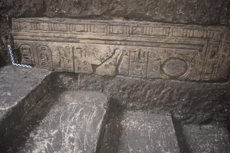 Wall carvings at the ancient Egyptian city of Buto. Credit: Ministry of Antiquities / Facebook