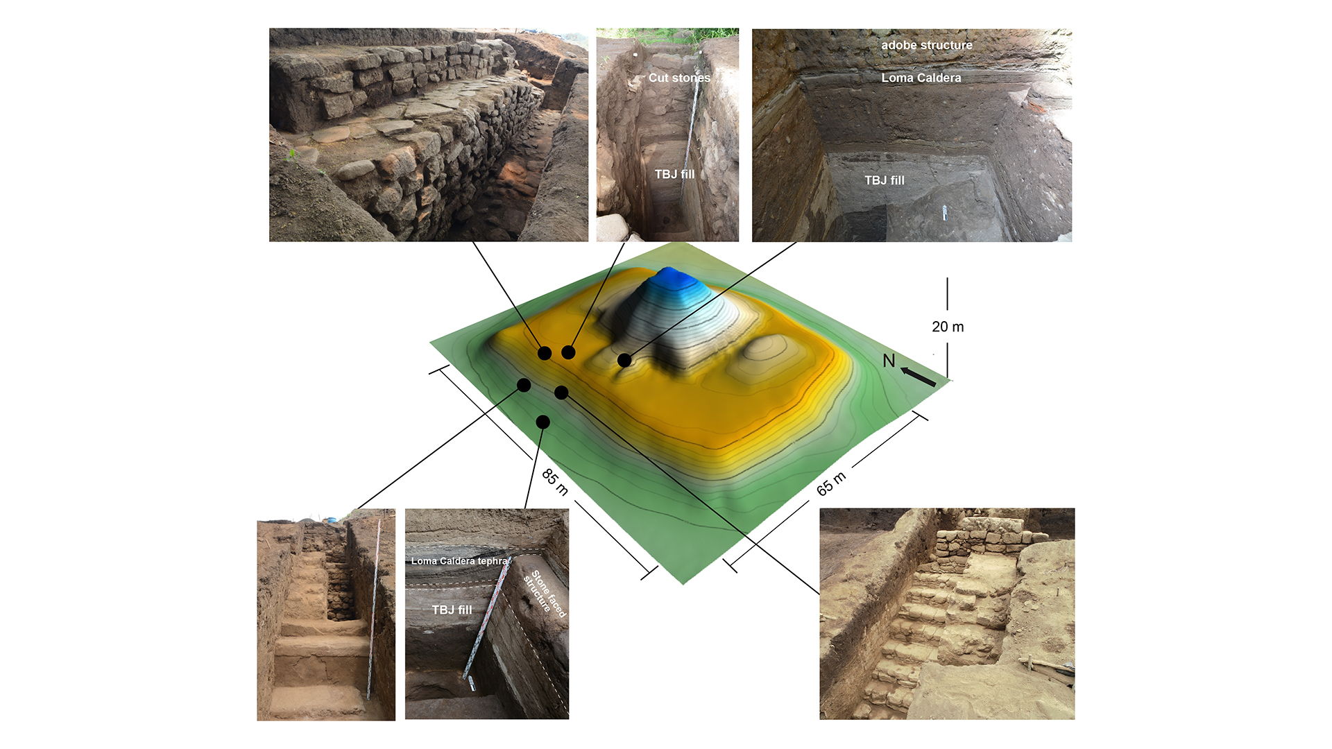 3D plan of the Mayan pyramid with important excavation points. Credit: Akira Ichikawa / Antiquity, 2021