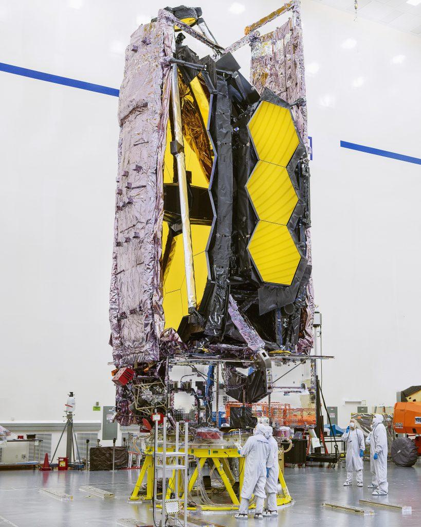The James Webb telescope captured here whilst being prepared for shipment. Credit: NASA/Chris Gunn