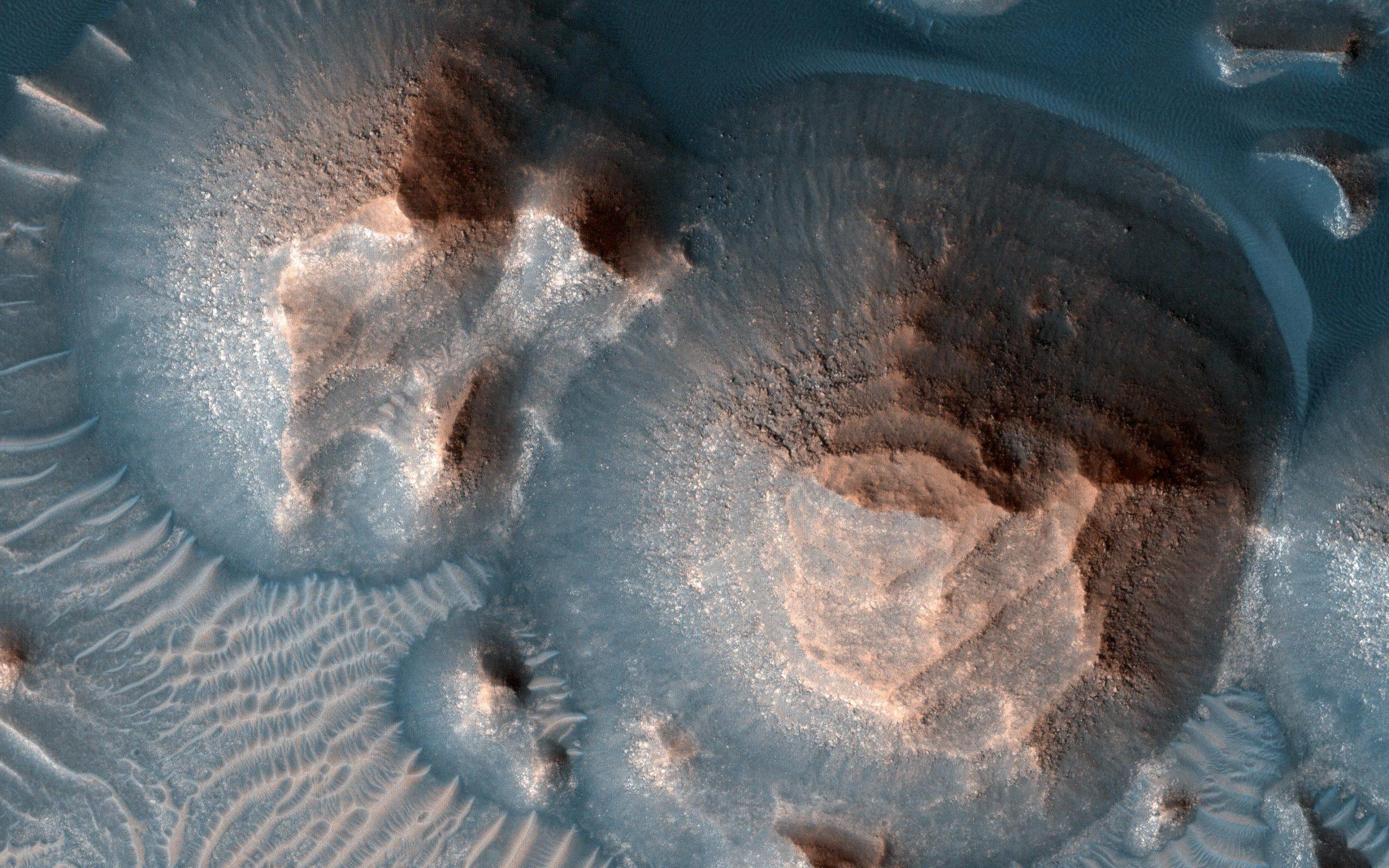 Several craters of the Arabia Terra region on Mars. Credit: NASA