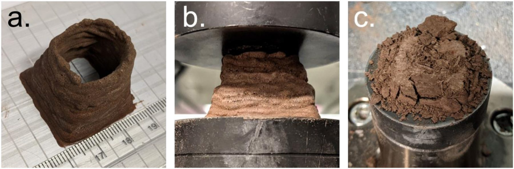 a) A biocomposite sample after manufacture, b) during a compression test, and c) after a compression test. Credit: Aled D. Roberts et al. / Materials Today Bio, 2021