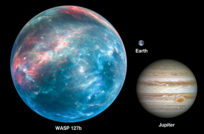 Artist's impression of WASP-127b next to Earth and Jupiter. Credit: Latest in space/Twitter