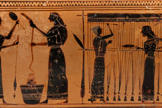 Part of a Terracotta lekythos, showing an image of working women, c.550-530 BC. Credit: Metropolitan Museum of Art