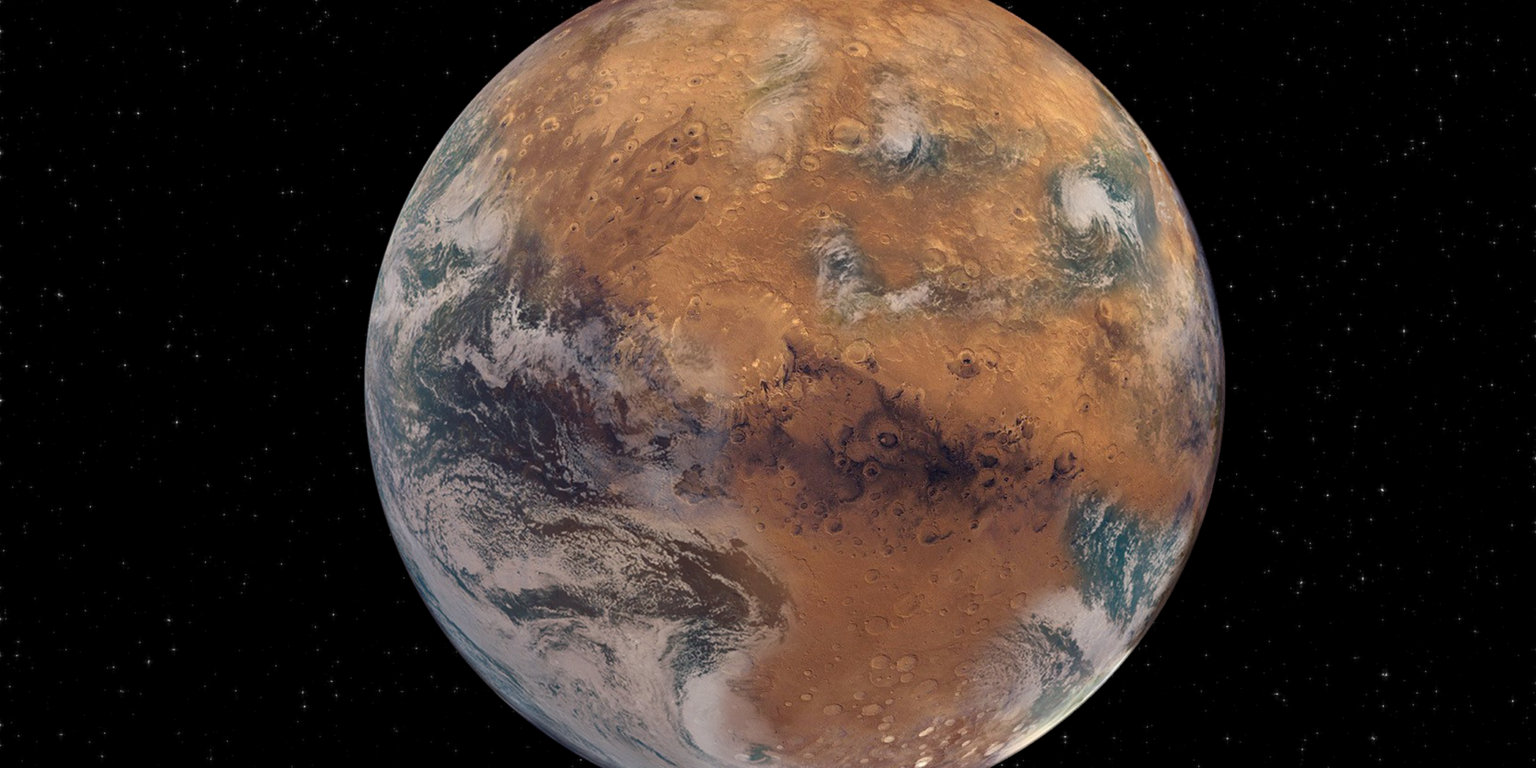 Artist's impression of a Mars with surface water. Is Mars too small to retain these conditions? Credit: NASA Earth Observatory/Joshua Stevens; NOAA National Environmental Satellite, Data, and Information Service; NASA/JPL-Caltech/USGS; Graphic design by Sean Garcia/Washington University