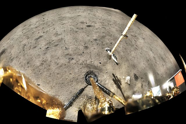 Panoramic image taken by the Chang'e 5 lander collecting lunar samples. Credit: CNSA (China National Space Administration) / CLEP (China Lunar Exploration Program) / GRAS (Ground Research Application System)