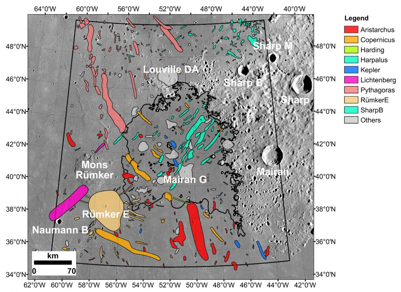 Chang'e-5's landing site and nearby impact craters that could be the sources of the exotic materials found in the samples. Credit: Qian et al. 2021