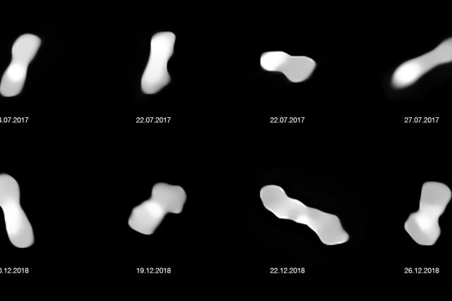 Dog-bone asteroid 216 Kleopatra photographed over the course of a year and a half. Credit: ESO / Vernazza, Marchis et al. / ONERA, CNRS
