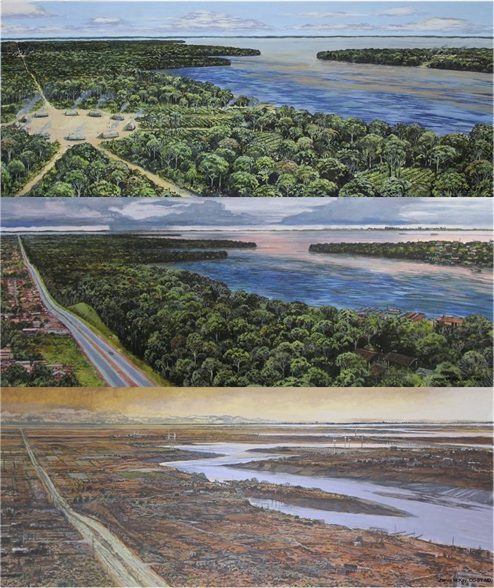 This image illustrates the way the Amazon region looked like around the 1500s, present-day, and 500 years from now. Credit: Lyon et al., 2021/CC BY-ND