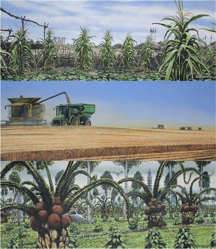This image illustrates how the Midwest could look like in the simulated Earth in 2500. The first image shows the pre-colonization period, then we see the present-day state. The third image shows the agricultural adaptation at a time when humans might not be able to live in this part of the globe. We see that the crops are tended by drones, thus, suggesting that harvesting crops will be possible with limited human presence. Credit: Lyon et al., 2021/CC BY-ND