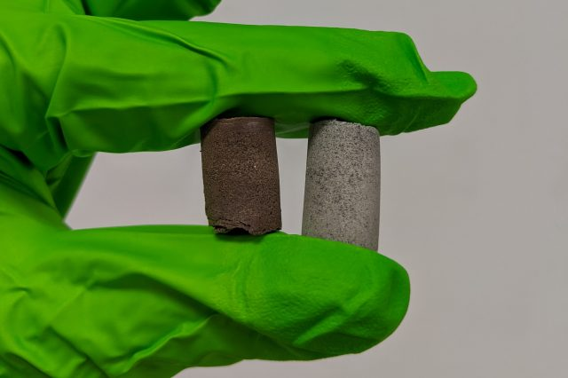 Scientists have created a concrete-like biocomposite material made from regolith and astronaut blood and urine. Credit: University of Manchester