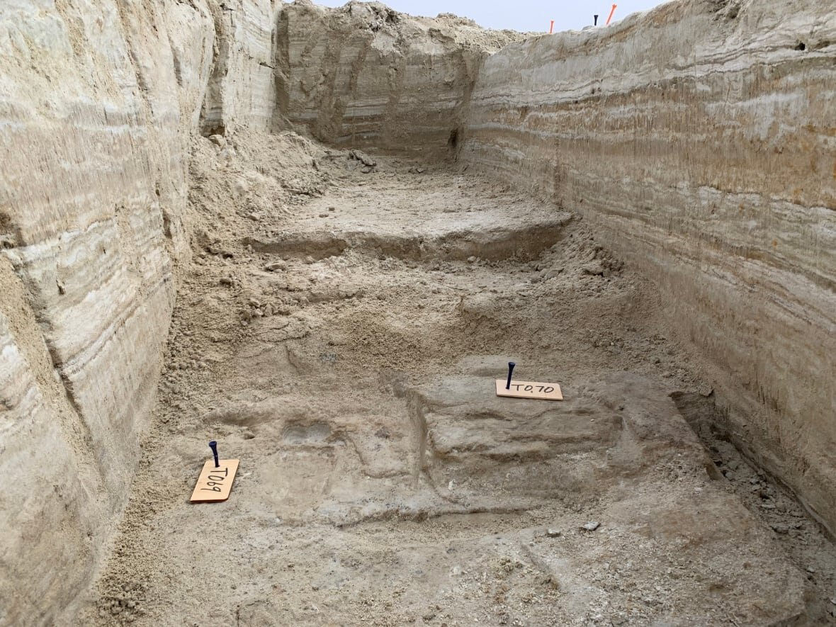 Ancient human footprints discovered in a trench at the site. Credit: National Park Service/USGS/Bournemouth University