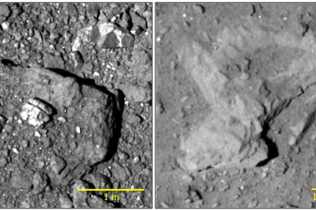 Boulders partially covered with regolith on the surface of Ryugu. Pictures of Hayabusa-2. Credit: ISAS / JAXA, University of Tokyo