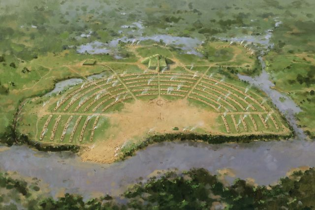Artist's impression of the Poverty Point site as it must have looked like when it was erected by America's first civilization. Credit: Herb Roe (CC BY-SA)