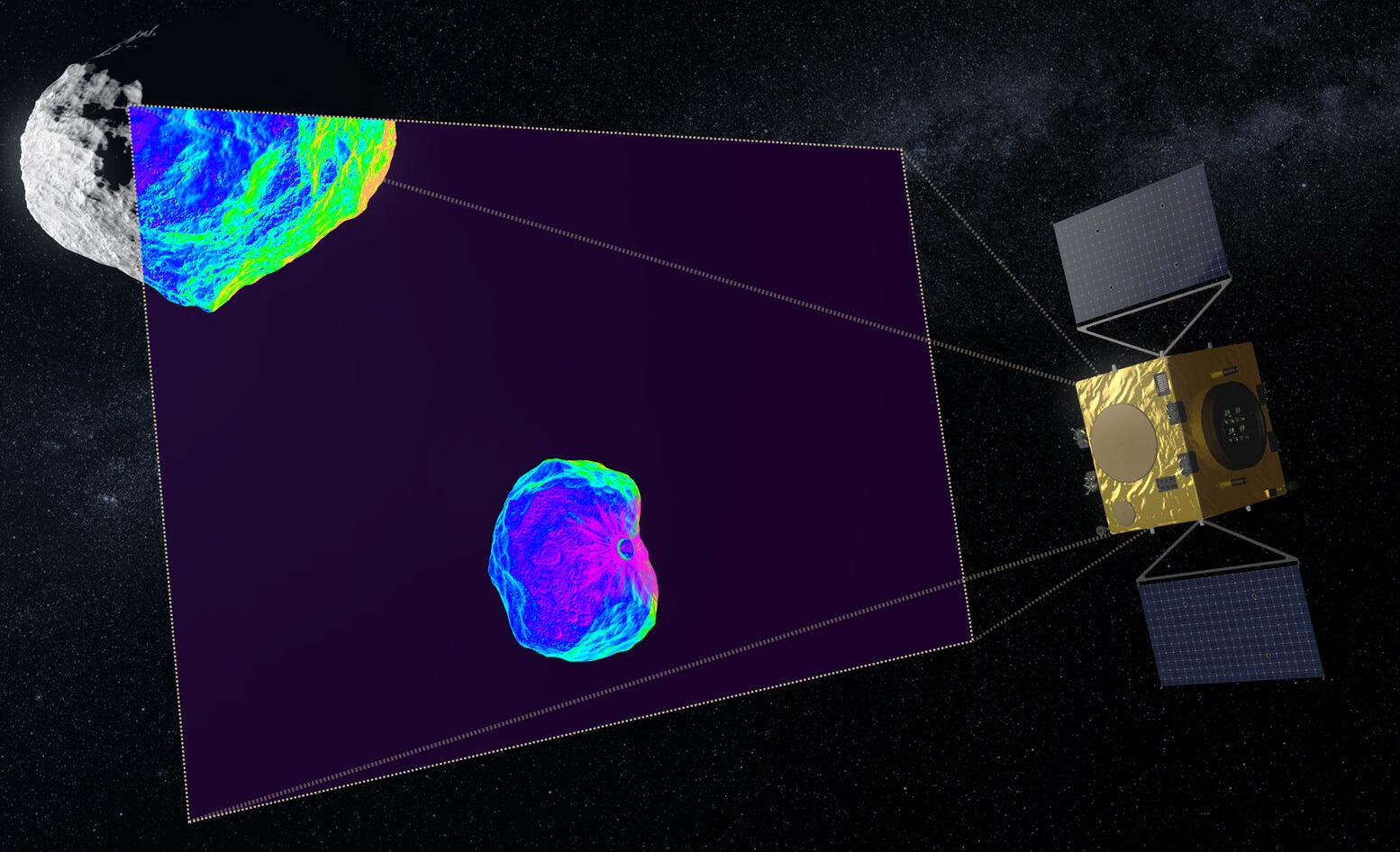 Artist's impression of the Hera spacecraft during its mission to access the change in Dimorphos's orbit. Credit: ESA - Science Office