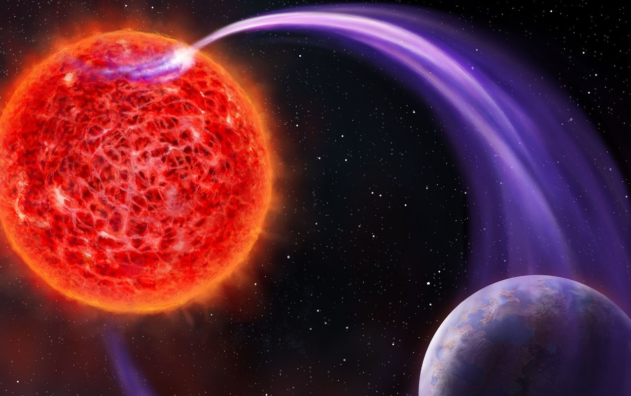 Artist's impression of a red dwarf and an exoplanet and their interaction that causes auroras. Scientists want to use such radio wave emissions to detect distant hidden planets. Credit: Danielle Futselaar (artsource.nl)
