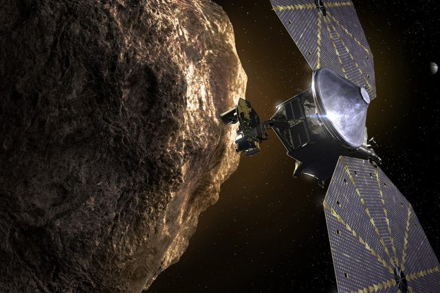 NASA launched the Lucy spacecraft which will study eight Trojan asteroids. Credit: NASA