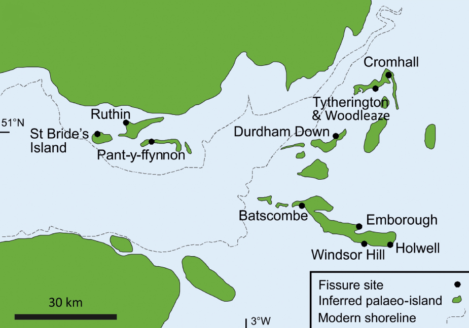 Reconstruction of an ancient archipelago located in the late Triassic and early Jurassic in the territory of modern Great Britain. Credit: Keeble et al. / Proceedings of the Geologists' Association, 2018