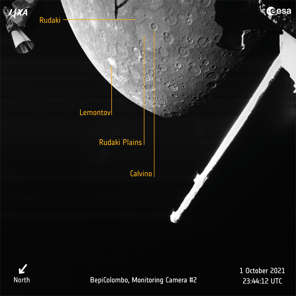 Another image from BepiColombo with annotated regions on the planet's surface. Credit: ESA/JAXA/BepiColombo
