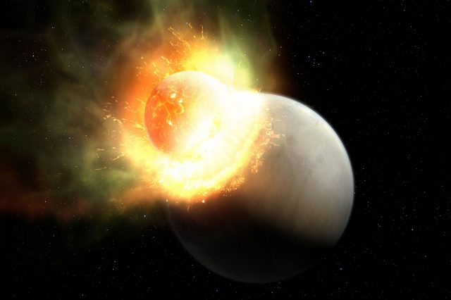 Scientists believe that two planets collided in the HD 172555 system. Credit: Mark A. Garlick/MIT