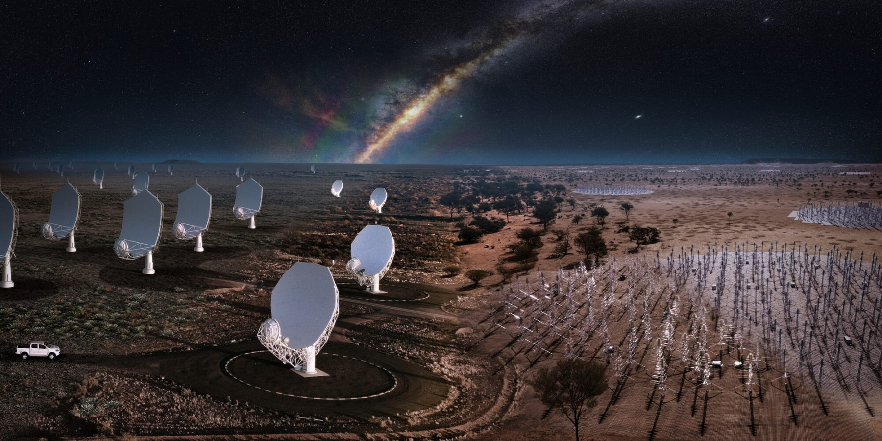 Artist's composite impression of the Square Kilometer Array telescopes to be built in South Africa and Australia. Credit: SKAO, ICRAR, SARAO, Hurley-Walker (Curtin / ICRAR) and the GLEAM Team