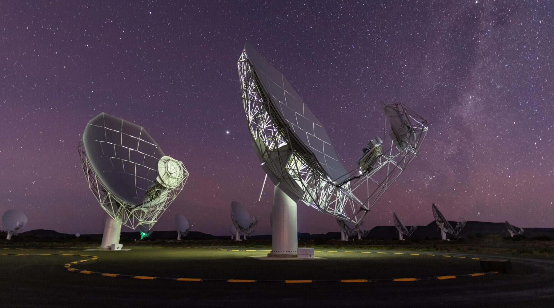 Radio telescopes that are part of MeerKAT. Credit: South African Radio Astronomy Observatory (SARAO)
