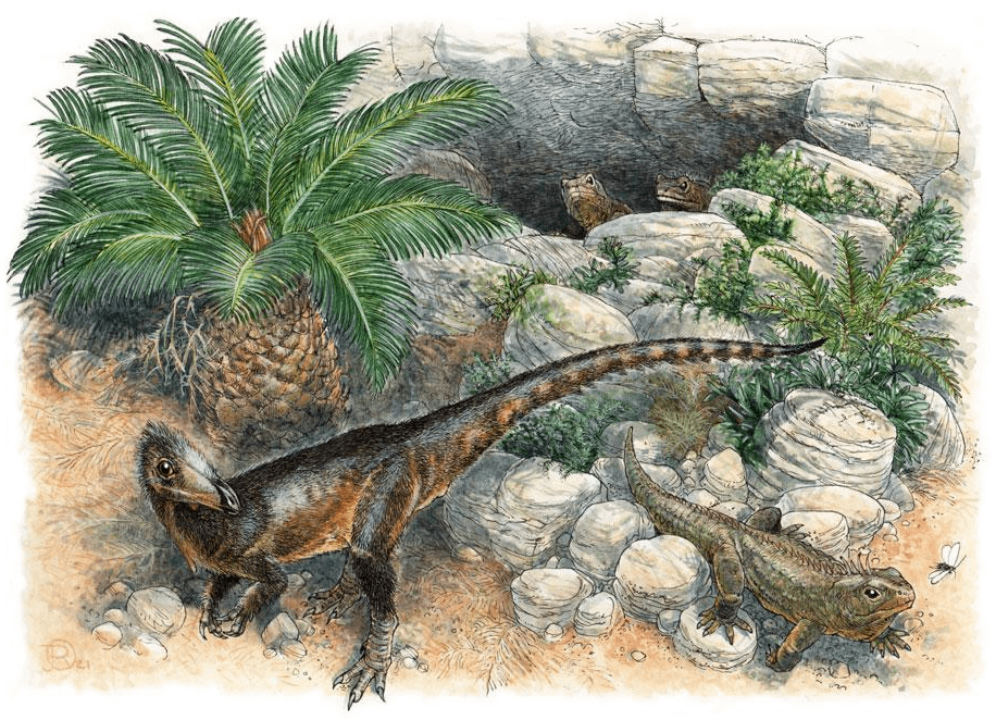 Artistic reconstruction of Pendraig milnerae and three beak-headed Clevosaurus cambrica. Credit: James Robbins / Spiekman et al. / Royal Society Open Science, 2021