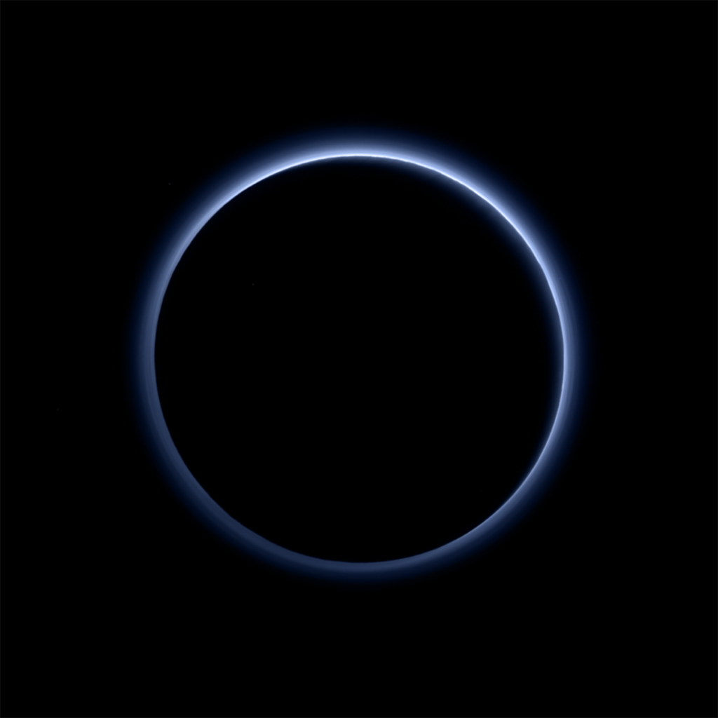 The haze layer of Pluto's atmosphere in an image taken by the New Horizons spacecraft. Credit: NASA/JHUAPL/SwRI