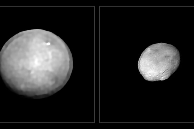 The two largest asteroids in the Solar System - Ceres and Vesta. Credit: M. Kornmesser, Vernazza et al. (ESO); MISTRAL algorithm (ONERA / CNRS)