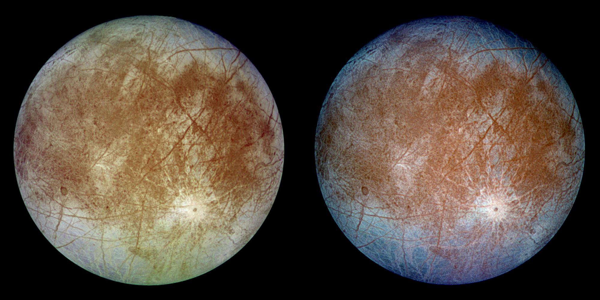 Astronomers have discovered that water vapor on Europa is persistent using Hubble data. Credit: NASA/JPL-Caltech/DLR