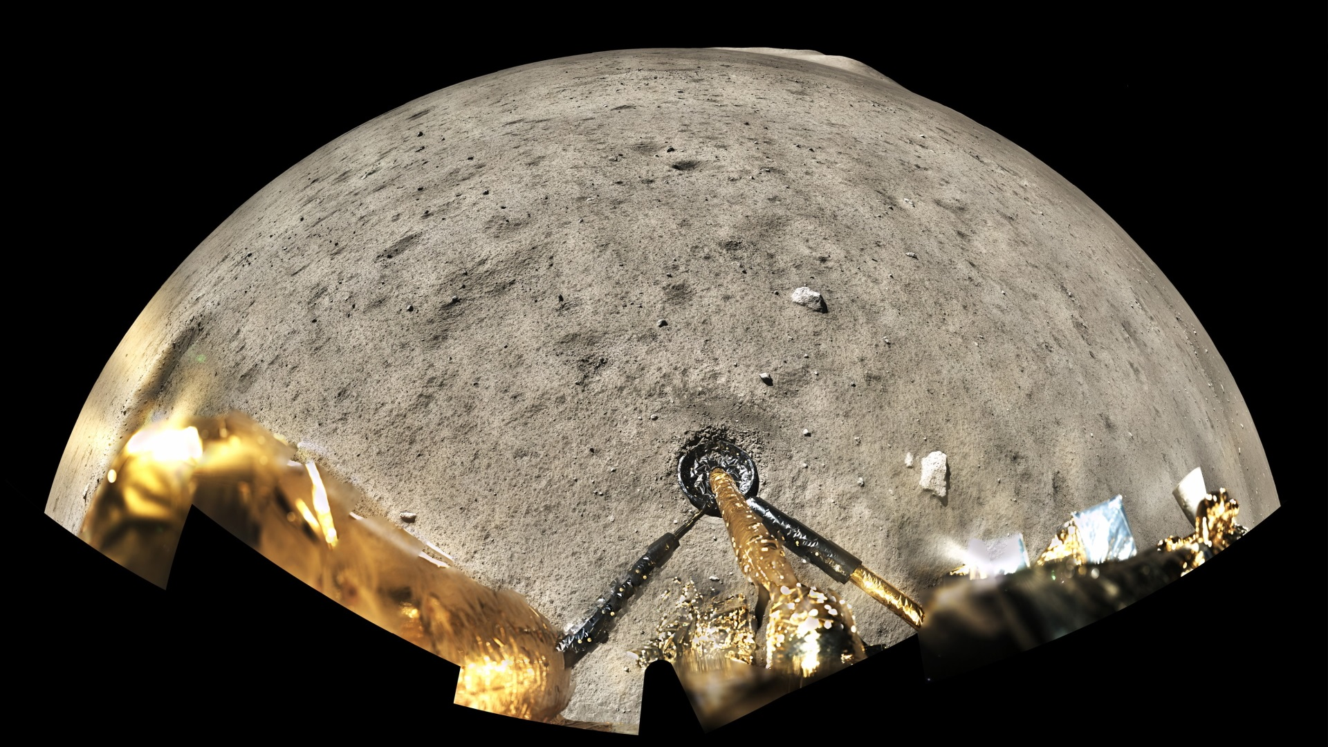 A panoramic shot of the lunar surface taken by the camera of the Chang'e-5 lander. Credit: CLEP