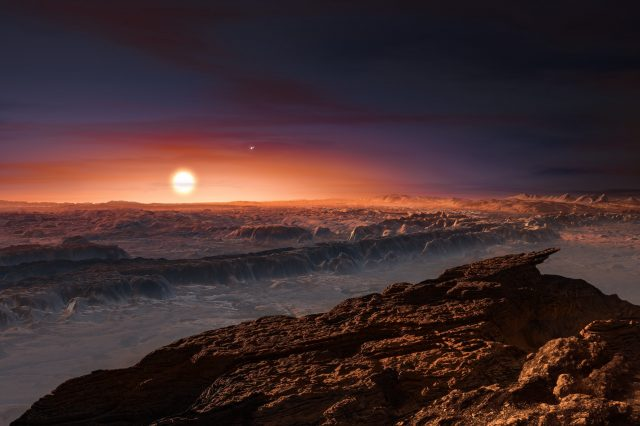 Artist's impression of the Proxima Centauri system from the point of view of an exoplanet within. Credit: ESO / M. Kornmesser