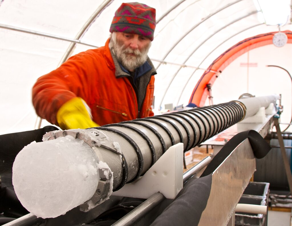Ice core extraction on James Ross Island. The work was carried out by the staff of the British Antarctic Survey in 2008. Credit: Jack Triest