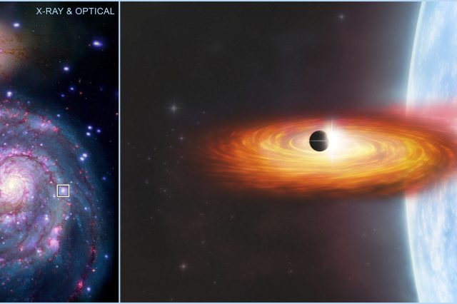 Location of the extragalactic planet and an artist's take on a X-ray binary with a possible planet. Credit: NASA/CXC/A. Hobart