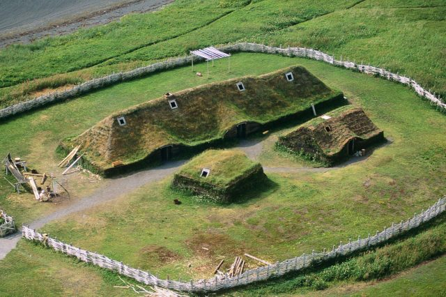 Reconstruction of Viking Age structures at L'Anse aux Meadows site. This is the only site that confirms the presense of Vikings in America. Credit: Glenn Nagel Photography