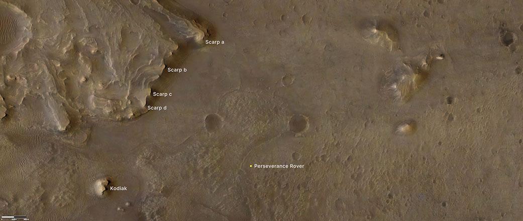 Locations of Perseverance, the Kodiak butte and several scarps along the delta. Credit: NASA/JPL-Caltech/LANL/CNES/CNRS/ASU/MSSS