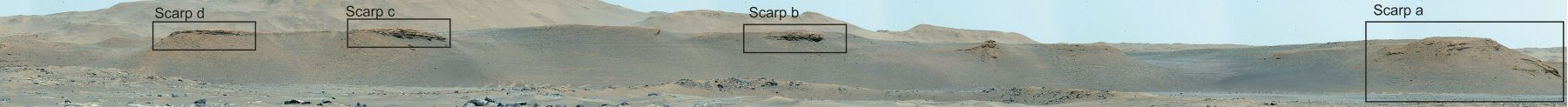 Scarps along the delta which will be studied by the Mars rover. Credit: NASA/JPL-Caltech/ASU/MSSS