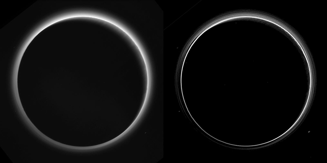 A virtually unprocessed (left) and processed (right) photograph of the glow of Pluto's atmosphere Credit NASA / Johns Hopkins University Applied Physics Laboratory / Southwest Research Institute