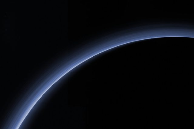Pluto's atmosphere observed by NASA's mission in 2015. Credit: NASA/JHU-APL/SwRI