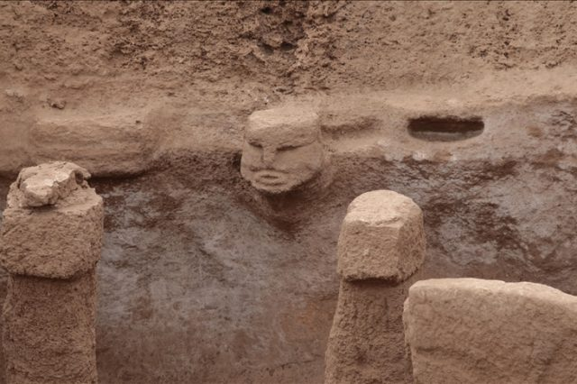 Human depictions and 3D sculptures in the 11,000-year-old Karahantepe complex. Credit: Anadolu Agency