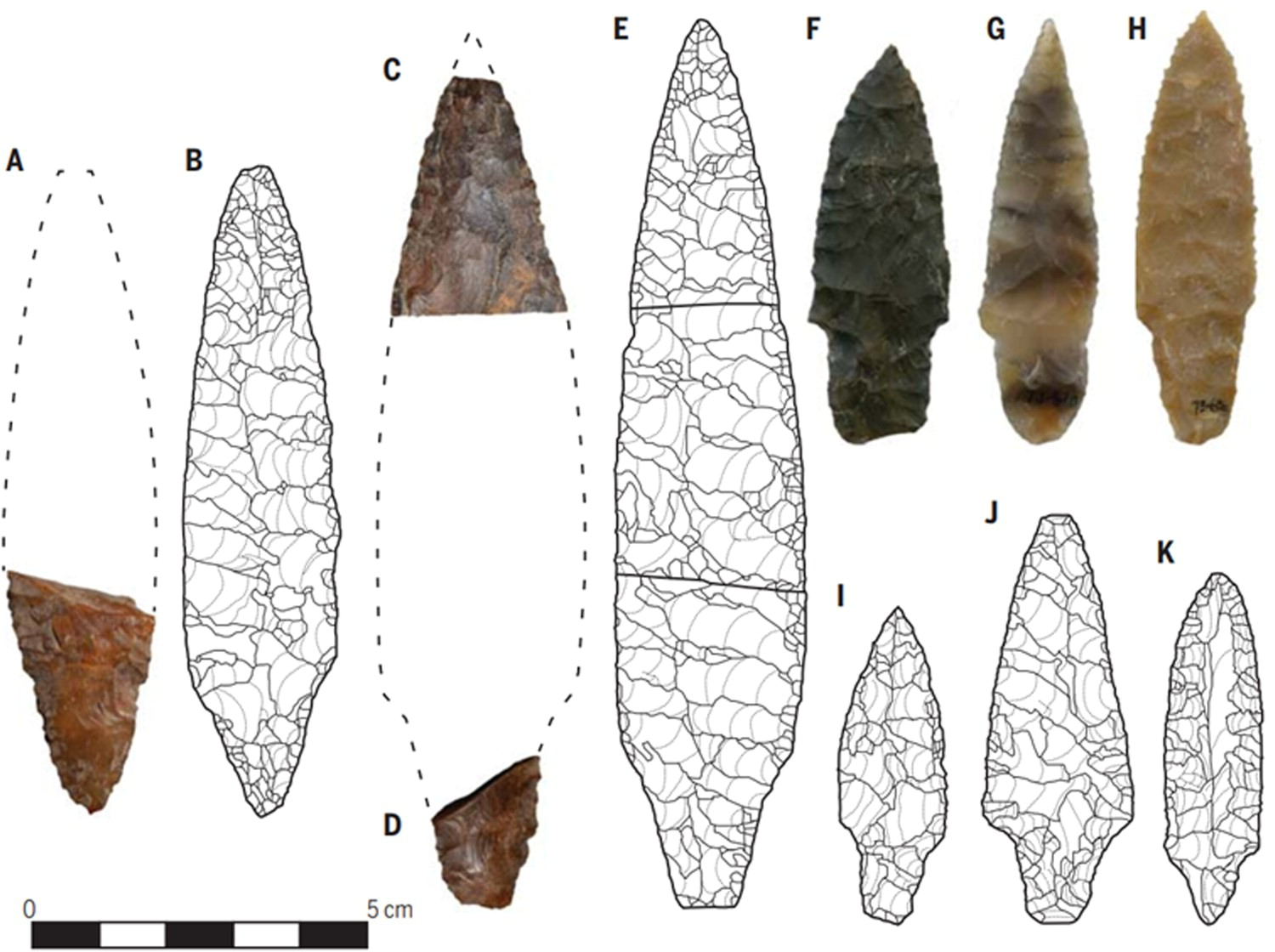 Comparison between Cooper's Ferry projectile points (A, C, F, G, H) and projectile points from the Kamishiritaki 2 site. Scientists believe that the human settlement of America did not pass through Japan. Credit: Richard Scott et al. / PaleoAmerica, 2021